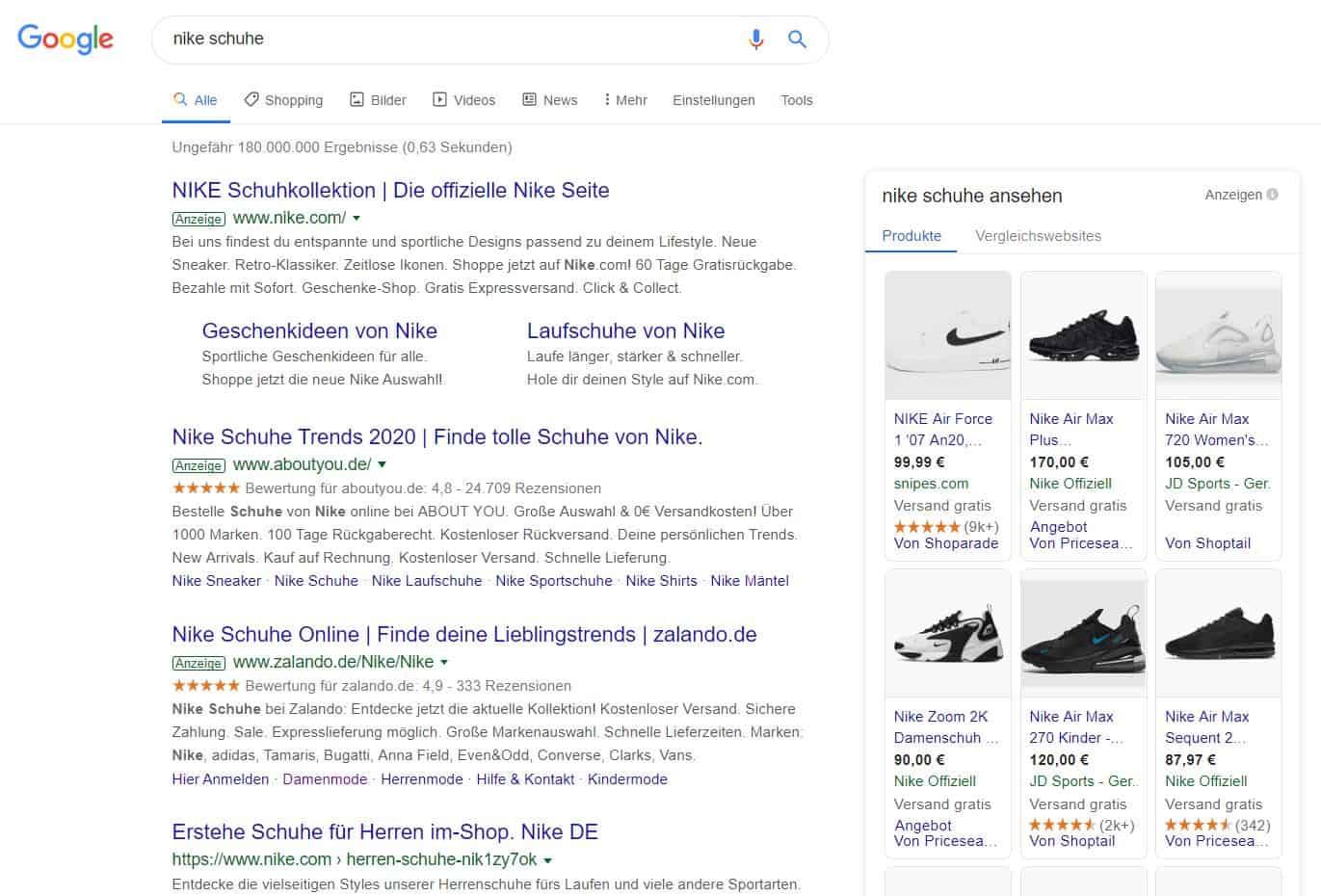 Google Shopping Anzeige