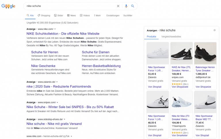 Google Shopping Beispiel am Keyword nike schuhe
