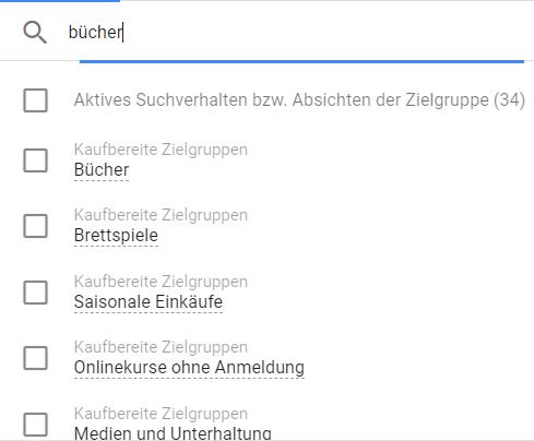 Auswahl von Zielgruppen für YouTube bei Google Ads am Beispiel Bücher