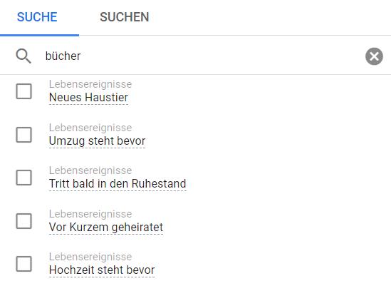 Auswahl von Zielgruppen für Youtube bei Google Ads